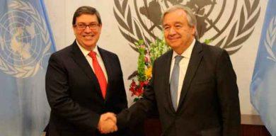 Canciller cubano se reunió con el Secretario General de la ONU