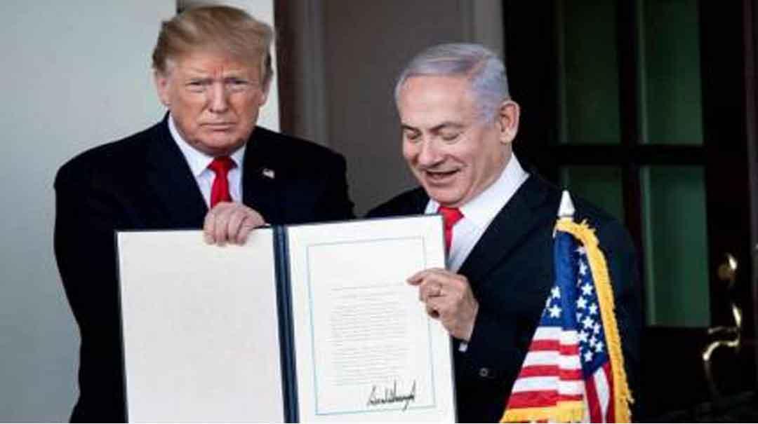 Trump y Netanyahu, con la proclamación sobre las Alturas del Golán en marzo de 2019. Autor: AFP