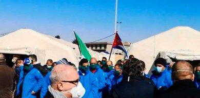 Brigada sanitaria cubana abre área de campaña en hospital en Lombardía